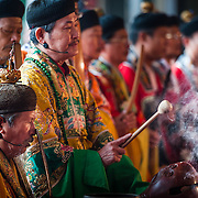 Daoist priests at Kungshen Wangye's Salt of Peace Festival 2010, Nankunshen Daitian Temple, Beimen Township, Tainan County, Taiwan