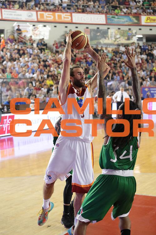 DESCRIZIONE : Roma Lega A 2012-2013 Acea Roma Montepaschi Siena finale gara 2<br /> GIOCATORE : Datome Luigi<br /> CATEGORIA : tiro equilibrio<br /> SQUADRA : Acea Roma<br /> EVENTO : Campionato Lega A 2012-2013 playoff finale gara 2<br /> GARA : Acea Roma Montepaschi Siena<br /> DATA : 13/06/2013<br /> SPORT : Pallacanestro <br /> AUTORE : Agenzia Ciamillo-Castoria/M.Simoni<br /> Galleria : Lega Basket A 2012-2013  <br /> Fotonotizia : Roma Lega A 2012-2013 Acea Roma Montepaschi Siena playoff finale gara 2<br /> Predefinita :