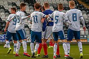 Players jostle for position for the 1st corner of the game during the U17 European Championships match between Scotland and Russia at Simple Digital Arena, Paisley, Scotland on 23 March 2019.