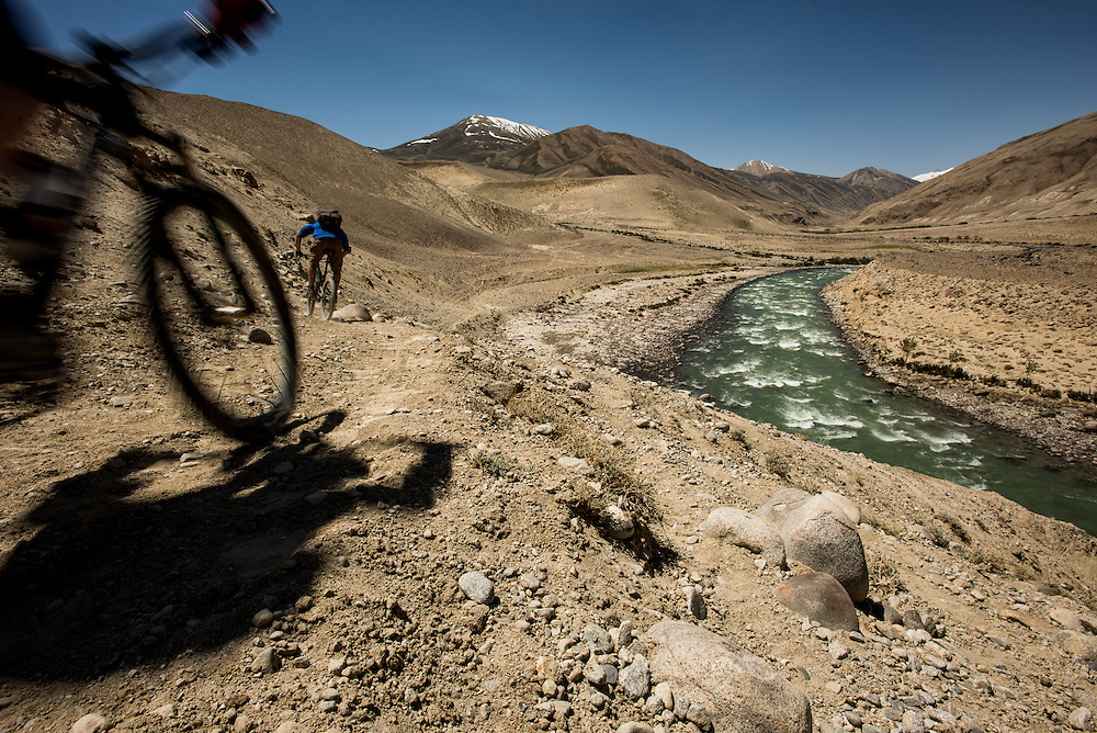 Dropping down to the Wakhan river and towards one of the most unrideable 2 Km of trail we encountered. No-one can ride a bike through 10cm deep sand. This is the nature of pioneering expeditions: facing whatever challenge arises.