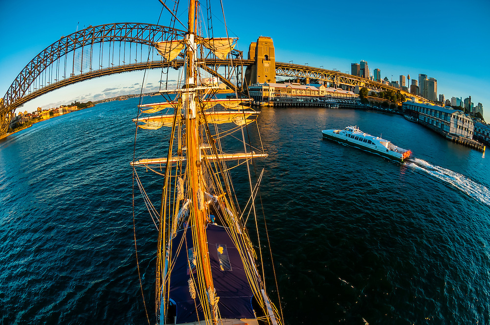 "View of the Sydney Harbour Bridge and the Sydney Opera House from the mast of the tall ship ""Southern Swan"", Sydney, New South Wales, Australia"