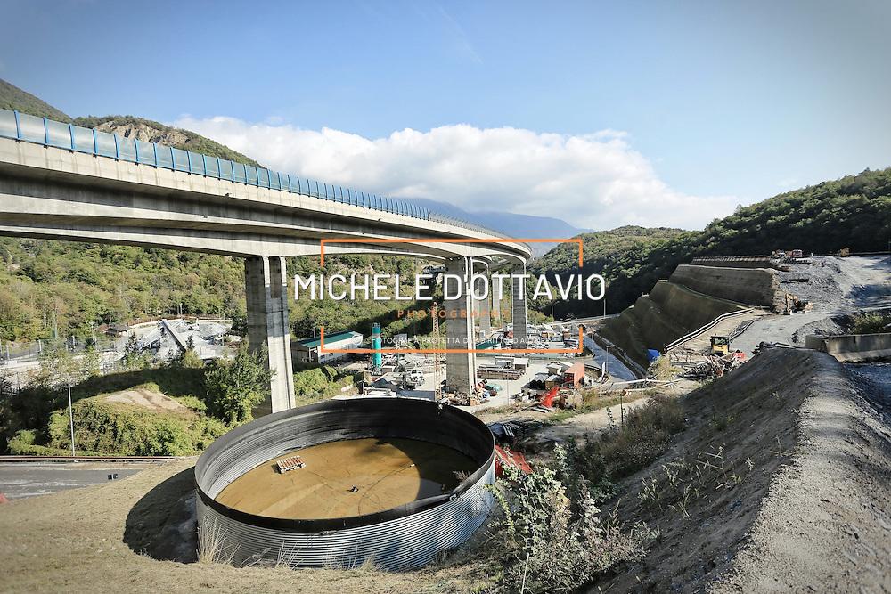 CHIOMONTE (TORINO) -10 ottobre 2016 -  cantiere galleria geognostica della linea ferroviaria Tav Torino Lione.