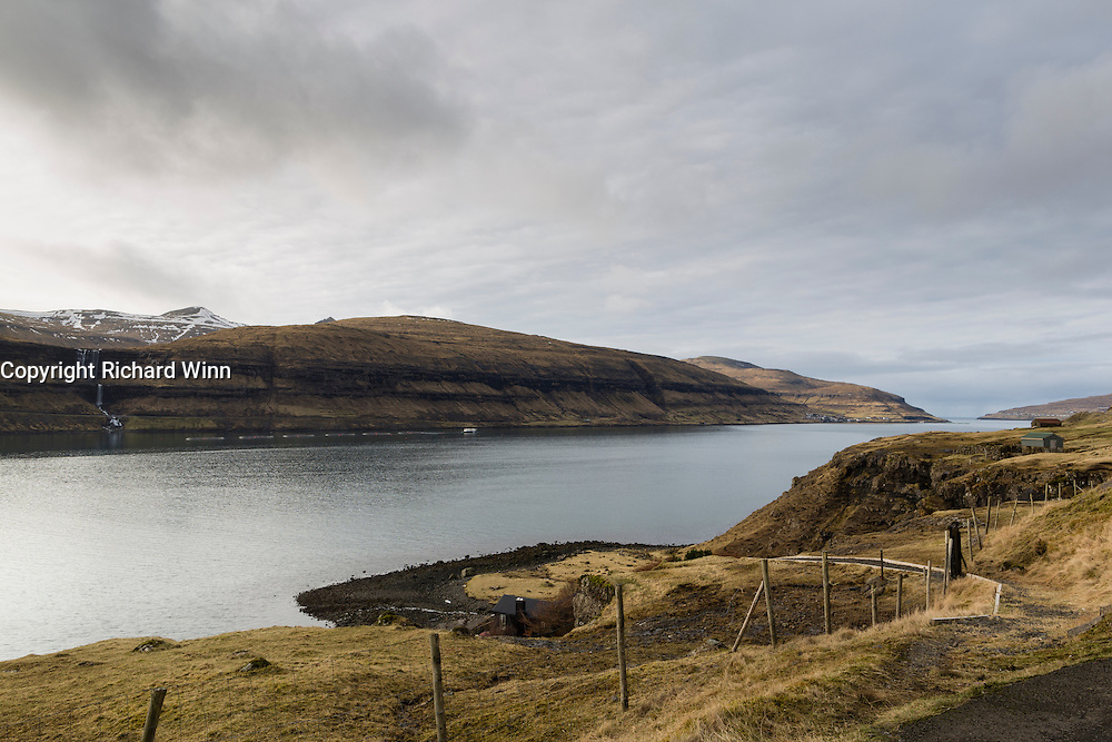 View across the sound between the Two largest islands in the Faroes, Streymoy and Eysturoy.