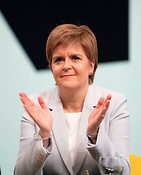 Edinburgh, Scotland, UK. 27 April, 2019. SNP ( Scottish National Party) Spring Conference takes place at the EICC ( Edinburgh International Conference Centre) in Edinburgh. Pictured; First Minister Nicola Sturgeon  during first day of conference.