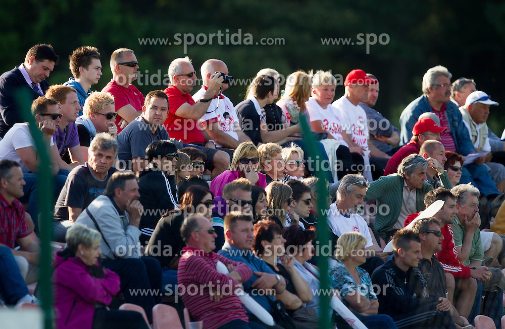 Supporters of Aluminij during football match between NK Aluminij Kidricevo and NK Roltek Dob in 27th, last Round of 2nd SNL, on May 19, 2012 in Sports park Kidricevo, Slovenia. NK Aluminij defeated NK Dob 2-1, won 2nd SNL and qualified to 1st SNL. (Photo by Vid Ponikvar / Sportida.com)
