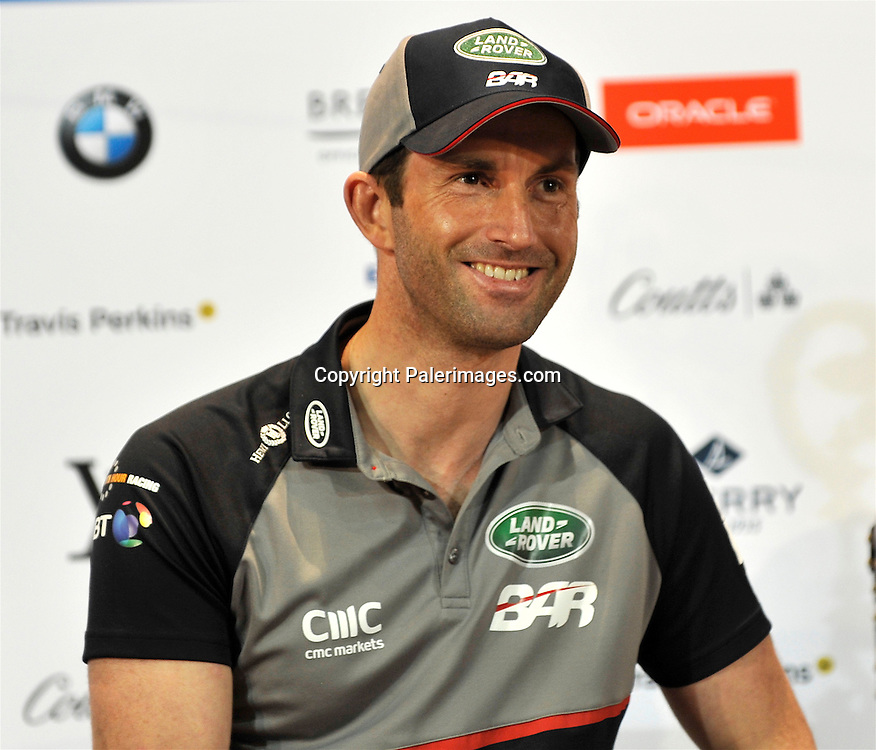Sir Ben Ainslie (GBR) Land Rover Bar Team principal and skipper during the Media Day Louis Vuitton America's Cup World Series Portsmouth on July 21. 2016 in Portsmouth, England. Copyright photo: Michael Paler/ www.photosport.nz
