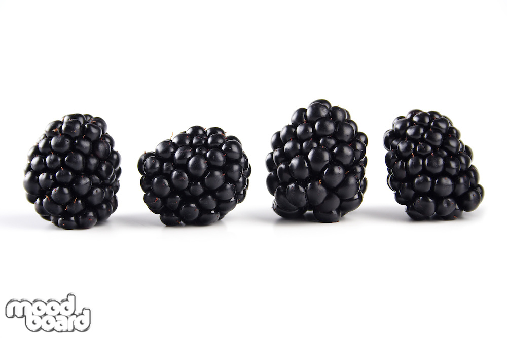 Close-up of blackberries on white background