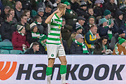 Kristoffer Ajer (#35) gives his keeper the the thumbs up  during the Europa League match between Celtic and Rennes at Celtic Park, Glasgow, Scotland on 28 November 2019.