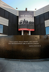 07 December 2014. Montgomery, Alabama. <br /> Civil Rights Memorial honoring the achievements and memory of those who died during the Civil Rights Movement. Created by Vietnam Veterans Memorial designer Maya Lin. Martin Luther King Jr's famous quote; 'Until Justice rolls down like waters and righteousness like a mighty stream' is engraved in he black granite.   <br /> Photo; Charlie Varley/varleypix.com