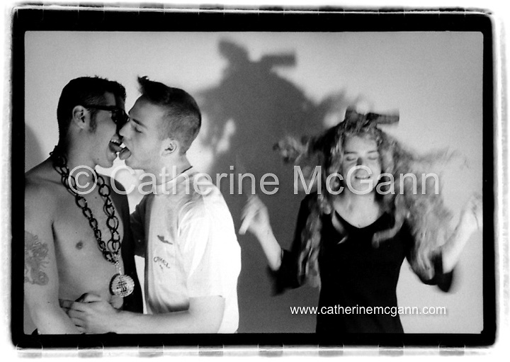 L-R:  Superstar DJ Keoki, Michael Alig and friend Fernando, photographed on March 29, 1991 in New York City.<br /> <br /> Copyright Catherine McGann / All Rights Reserved<br /> www.catherinemcgann.com<br /> catherinemcgann@gmail.com