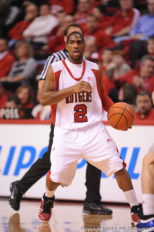 Jan 31, 2009; Piscataway, NJ, USA; Rutgers guard Anthony Farmer (2) dribbles into the offensive half court during the first half of Rutgers' 75-56 victory over DePaul in NCAA college basketball at the Louis Brown Athletic Center