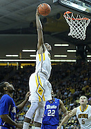 December 17, 2011: Iowa Hawkeyes forward Melsahn Basabe (1) dunks the ball during the the NCAA basketball game between the Drake Bulldogs and the Iowa Hawkeyes at Carver-Hawkeye Arena in Iowa City, Iowa on Saturday, December 17, 2011. Iowa defeated Drake 82-68.