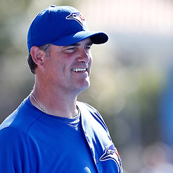 March 16, 2012; Dunedin, FL, USA; Toronto Blue Jays manager John Farrell (52) before a spring training game against the Tampa Bay Rays at Florida Auto Exchange Stadium. Mandatory Credit: Derick E. Hingle-US PRESSWIRE