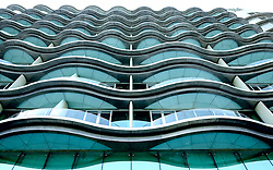 Modern architecture of Meydan Hotel in Dubai United Arab Emirates