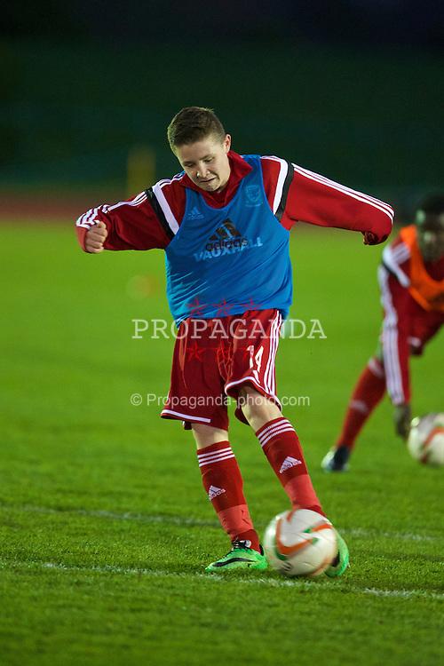 CONNAH'S QUAY, WALES - Thursday, March 20, 2014: Wales' Kieran Holsgrove during the warm-up before the Under-15's International Friendly match against Poland at the Deeside Stadium. (Pic by David Rawcliffe/Propaganda)