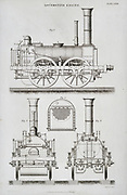 Stephenson steam  railway locomotive circa 1859. Side, rear and front elevations. Engraving, 1862.