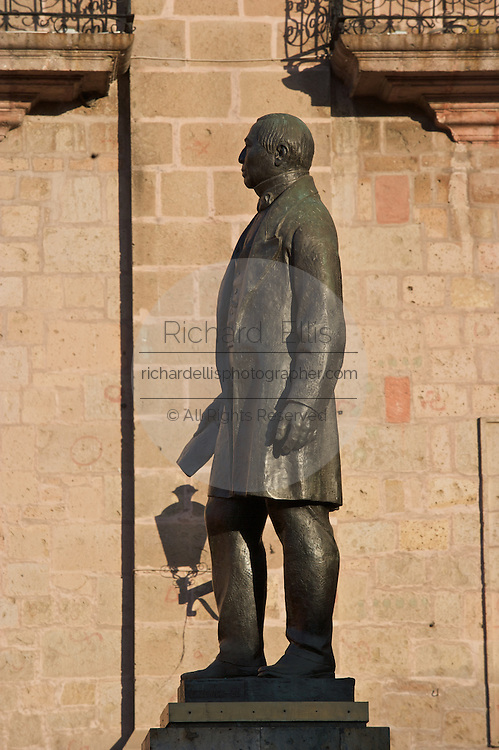 Statue of Mexican Independence Hero Benito Juarez in the Plaza de Armas in the central highland city of Morelia, Michoacan state Mexico. The city is a UNESCO World Heritage Site and hosts one of the best preserved collection of Spanish Colonial architecture in the world.
