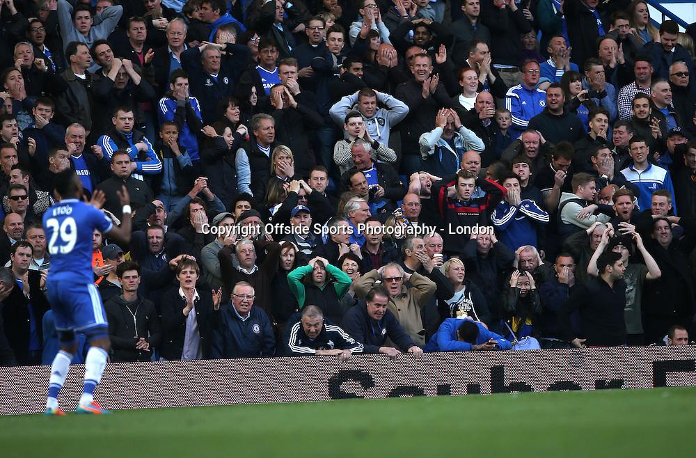19 April 2014 Premier League Football - Chelsea v Sunderland -<br /> Frustration for Chelsea fans and Samuel Eto'o.<br /> Photo: Mark Leech
