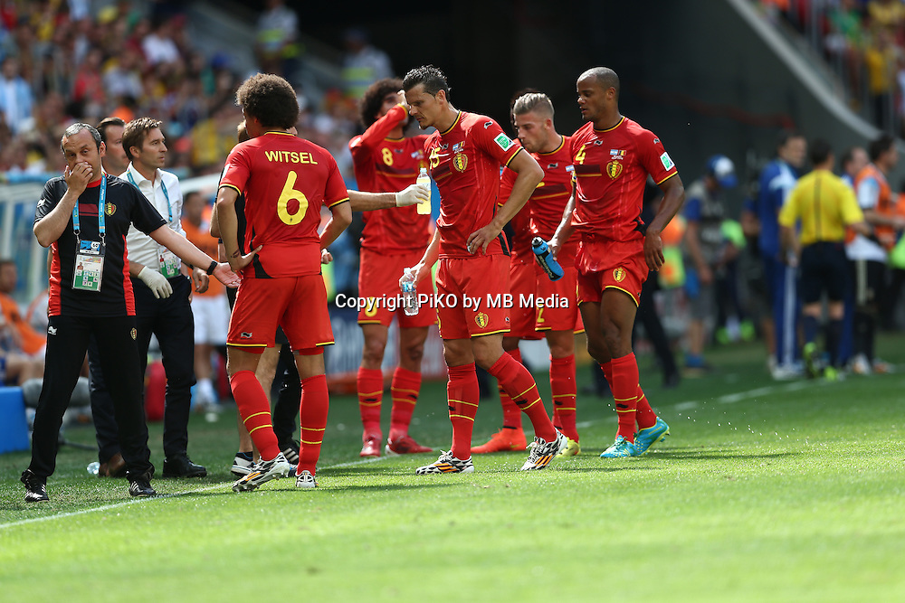 Fifa Soccer World Cup - Brazil 2014 - <br /> ARGENTINA (ARG) Vs. BELGIUM (BEL) - Quarter-finals - Estadio Nacional Brasilia -- Brazil (BRA) - 05 July 2014 <br /> Here Belgium players  Axel WITSEL, Marouane FELLAINI, Daniel VAN BUYTEN (C), Toby ALDERWEIRELD and Vincent KOMPANY<br /> &copy; PikoPress