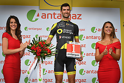 July 14, 2018 - Amiens Metropole, FRANCE - French Fabien Grellier of Direct energie receives the combativity award for the most aggressive rider after the eighth stage of the 105th edition of the Tour de France cycling race, from Dreux to Amiens Metropole (181 km), in France, Saturday 14 July 2018. This year's Tour de France takes place from July 7th to July 29th. BELGA PHOTO DAVID STOCKMAN (Credit Image: © David Stockman/Belga via ZUMA Press)