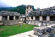 MEXICO, MAYAN, PALENQUE Palace courtyard with tower observatory