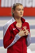 Laura Ikauniece (Latvia) Pentathlon, High Jump, during the European Athletics Indoor Championships 2019 at Emirates Arena, Glasgow, United Kingdom on 1 March 2019.