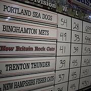The division table on the wall at New Britain Stadium during the New Britain Rock Cats Vs Binghamton Mets Minor League Baseball game at New Britain Stadium, New Britain, Connecticut, USA. 2nd July 2014. Photo Tim Clayton