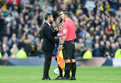 Watford manager Javi Gracia confronts the referee at the final whistle - Mandatory by-line: Arron Gent/JMP - 19/10/2019 - FOOTBALL - Tottenham Hotspur Stadium - London, England - Tottenham Hotspur v Watford - Premier League