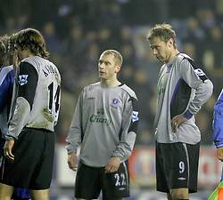 WIGAN, ENGLAND - TUESDAY, JANUARY 31st, 2006: Everton's Duncan Ferguson looks sheepish before being sent off against Wigan Athletic during the Premiership match at the JJB Stadium. (Pic by Chris Brunskill/Propaganda)