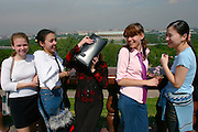 Girls celebrating their last day in middle school enjoy the fabulous view over the city and the Moskva.