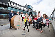 **NO REPRO FEE** 26042016 Fleadh Cheoil na hÉireann Inis 2016 lifts off as Shannon Airport comes on board as main sponsor. At the announcement were Emilie Keane (aged 5) performing a brush dance to the music of three generations of the Droney Family, Ann Droney Kirrane, Chris Droney and Ciara Droney and from left (back) Mícheál Ó Riabhaigh, Chairman Fleadh Cheoil Executive Committee, Pádraig O Dufaigh, National Treasure Comhaltas Ceoltóiri Éireann, Mary Considine acting CEO Shannon Group, Zoe Keane,Dancer, Frank Whelan,Vice Chairman Fleadh Executive Committee and Rose Hynes, Chair Shannon Group. Photograph by Eamon Ward (Further information available from Eugene Hogan 0872497290 eugene.hogan@bridgepr.ie)