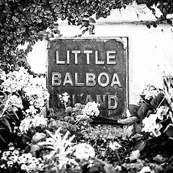 Little Balboa Island Sign black and white picture. Little Balboa Island is part of Balboa Island in Newport Beach, Orange County, California.