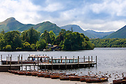 Wooden rowing boats on Derwent Water near Keswick in the Lake District National Park, Cumbria, UK
