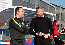 Willie Kirk manager of Bristol City Women chats with Manchester City Women Manager Nick Cushing prior to kick off - Mandatory by-line: Paul Knight/JMP - 09/05/2017 - FOOTBALL - Stoke Gifford Stadium - Bristol, England - Bristol City Women v Manchester City Women - FA Women's Super League Spring Series