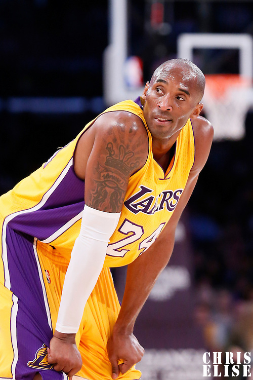 19 October 2014: Los Angeles Lakers guard Kobe Bryant (24) rests during the Los Angeles Lakers 98-91 victory over the Utah Jazz, in a preseason game, at the Staples Center, Los Angeles, California, USA.