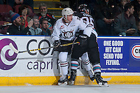 KELOWNA, CANADA - FEBRUARY 16: Cal Foote #25 of Kelowna Rockets checks Jeff de Wit #11 of Red Deer Rebels at the boards on February 16, 2016 at Prospera Place in Kelowna, British Columbia, Canada.  (Photo by Marissa Baecker/Shoot the Breeze)  *** Local Caption *** Cal Foote; Jeff de Wit;