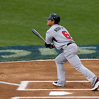 22 March 2009: #6 Brian Roberts of USA hits a solo homerun in the first inning during the 2009 World Baseball Classic semifinal game at Dodger Stadium in Los Angeles, California, USA. Japan wins 9-4 over Team USA.