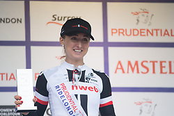 Leah Kirchmann (CAN) of Team Sunweb celebrates winning the sprint competition on the Prudential Ride London Classique - a 66 km road race, starting and finishing in London on July 29, 2017, in London, United Kingdom. (Photo by Balint Hamvas/Velofocus.com)