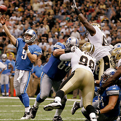 2009 September 13: Detroit Lions rookie quarterback Matthew Stafford (9) throws a pass during a 45-27 win by the New Orleans Saints over the Detroit Lions at the Louisiana Superdome in New Orleans, Louisiana.