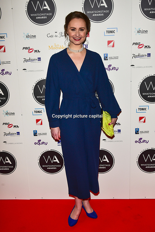 Zoe Rainey Arriver at the 18th Annual WhatsOnStage Awards 2018 at Prince of Wales Theatre on 25 Feb 2018, London, UK