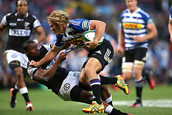 Werner Kok of Western Province attempts to break Sibusiso Sithole of the Sharks tackle during the Currie Cup Premier Division match between the DHL Western Province and the Sharks held at the DHL Newlands Rugby Stadium in Cape Town, South Africa on the 3rd September  2016<br /> <br /> Photo by: Shaun Roy / RealTime Images