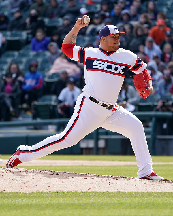 CHICAGO - APRIL 22: Bruce Rondon #44 of the Chicago White Sox pitches against the Houston Astros on April 22, 2018 at Guaranteed Rate Field in Chicago, Illinois.  (Photo by Ron Vesely)   Subject:   Bruce Rondon