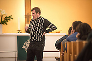The Rev. Dr. Gottfried Martens leads Bible study on Saturday, Nov. 14, 2015, at the Dreieinigkeits-Gemeinde, a SELK Lutheran church in Berlin-Steglitz, Germany.  LCMS Communications/Erik M. Lunsford