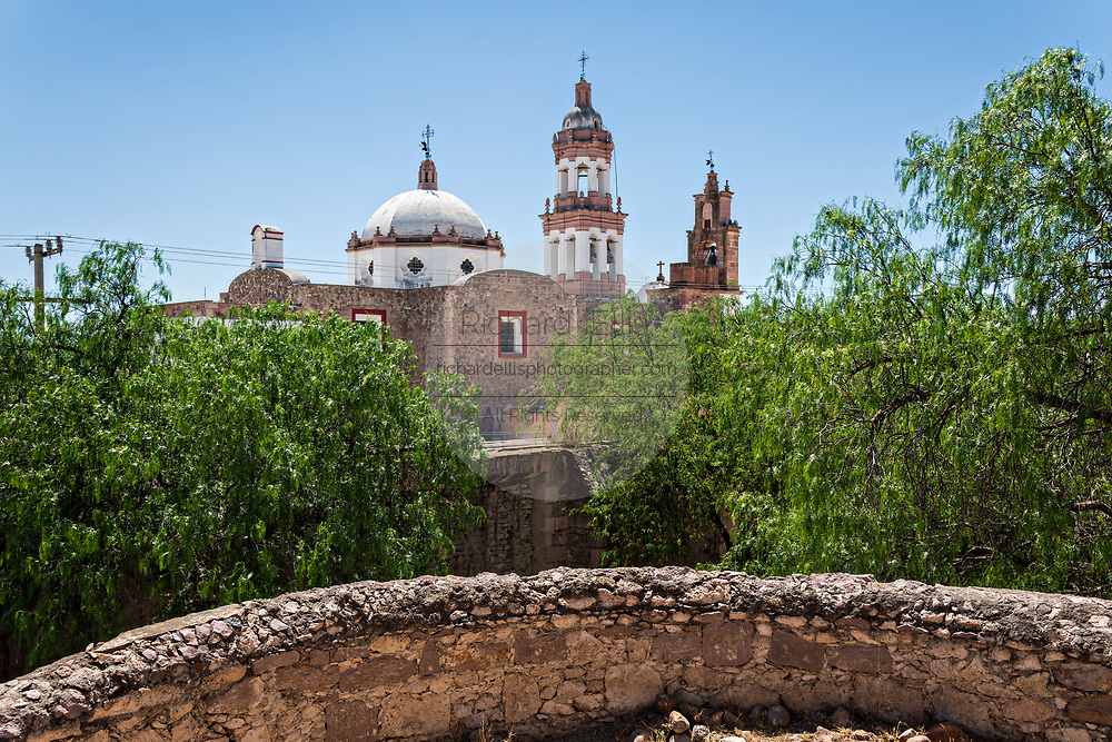 View of the Iglesia de San Diego De Alcalá church once part of the Hacienda de Jaral de Berrio in Jaral de Berrios, Guanajuato, Mexico. The abandoned Jaral de Berrio hacienda was once the largest in Mexico and housed over 6,000 people on the property.