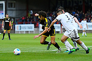 Will Nightingale (5) of AFC Wimbledon takes on Nick Arnold of Aldershot during the Pre-Season Friendly match between Aldershot Town and AFC Wimbledon at the EBB Stadium, Aldershot, England on 28 July 2017. Photo by Graham Hunt.
