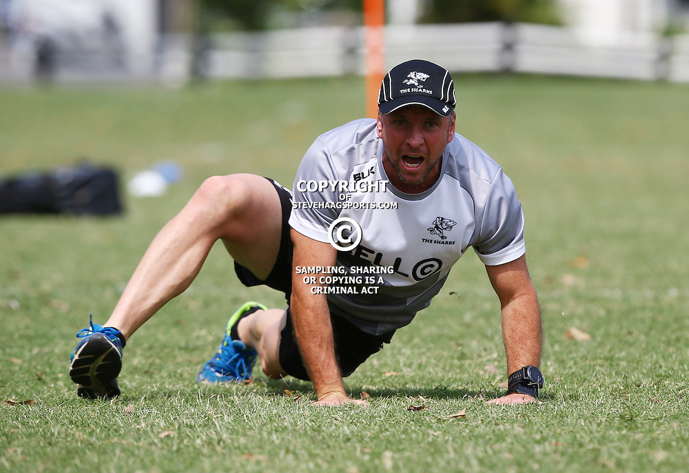 DURBAN, SOUTH AFRICA, 8 September, 2016 -Johan Pretorius Head Strength &amp; Conditioning Coach during The Cell C Sharks training session at Growthpoint Kings Park in Durban, South Africa. (Photo by Steve Haag)<br /> <br /> images for social media must have consent from Steve Haag