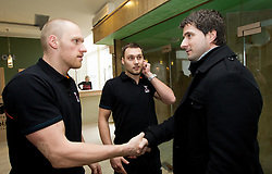 Miha Zvizej, Luka Zvizej and Roman Pungartnik during 3rd day of 10th EHF European Handball Championship Serbia 2012, on January 17, 2012 in Hotel Srbija, Vrsac, Serbia.  (Photo By Vid Ponikvar / Sportida.com)