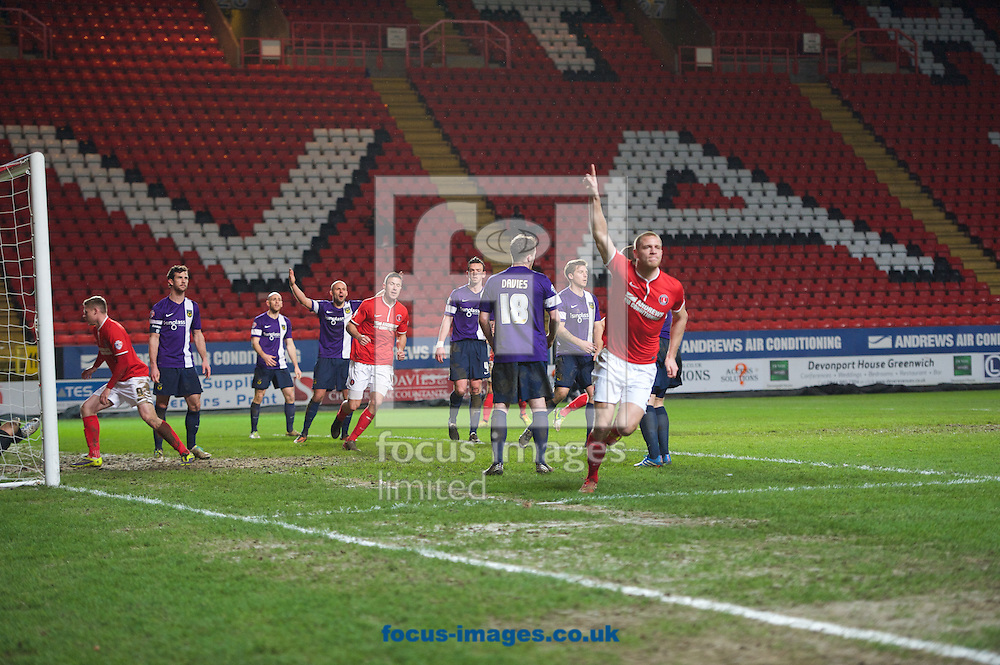 Picture by Alan Stanford/Focus Images Ltd +44 7915 056117<br /> 14/01/2014<br /> Michael Morrison of Charlton Athletic celebrates his goal to make it 1-2 during the The FA Cup match at The Valley, London.