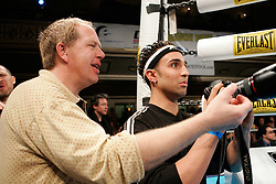 February 16, 2006 - New York, NY - Junior welterweight contender Paul Malignaggi tries life outside the ropes, as ace photographer Teddy Blackburn tries to show him how to shoot a fight at the Manhattan Center in NYC.