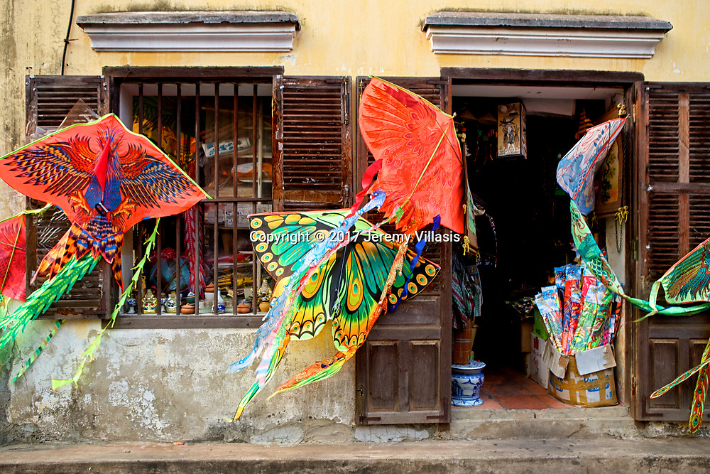 Kites on display at a shophouse in Hoi An.